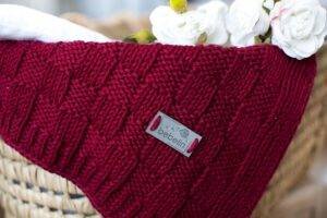 Woven cotton blanket burgundy