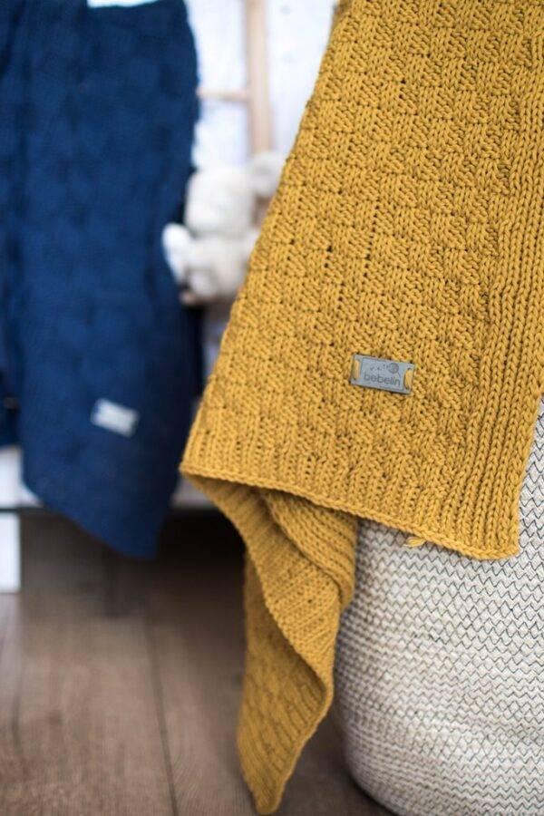 Woven cotton blanket mustard