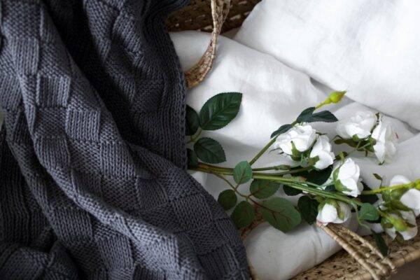 Woven cotton blanket misty grey