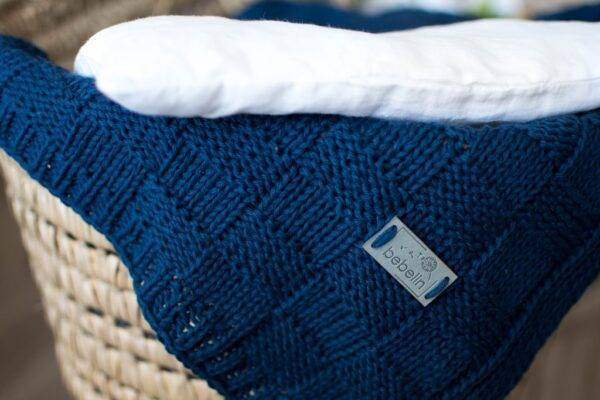 Woven cotton blanket navy blue