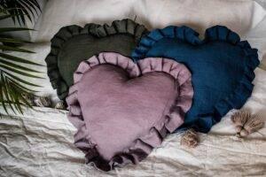 lniana poduszka serce