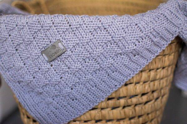 Woven cotton blanket pale blue