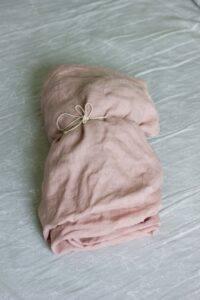 Linen bedsheet dusty pink