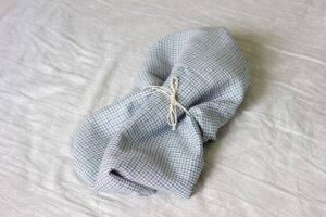 Linen bedsheet plaid