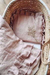 Linen bedding with flounces