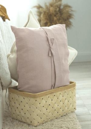 lniana poduszka z troczkami